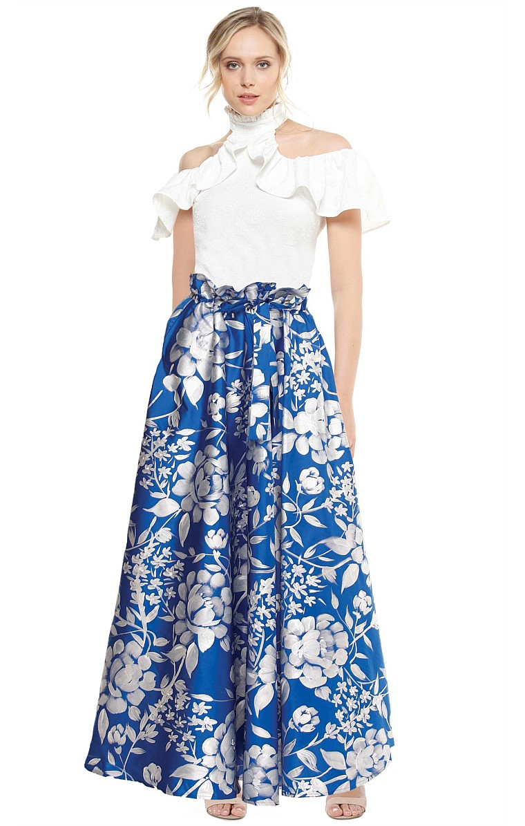 PALACE GARDENS HAND PAINTED LONG EVENING BALL SKIRT IN BLUE SILVER FLOWER PRINT