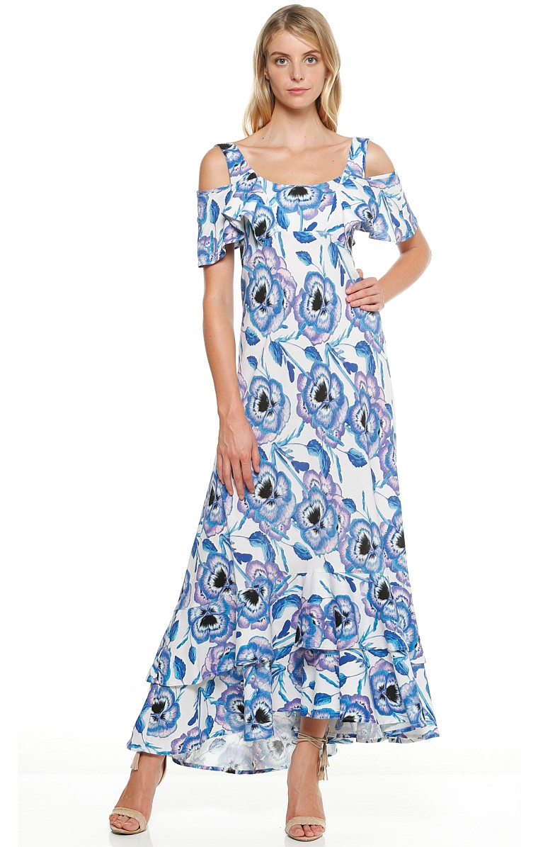 BLUE LARKSPUR CUT OUT SHOULDER FRILL MAXI DRESS IN BLUE FLOWER PRINT