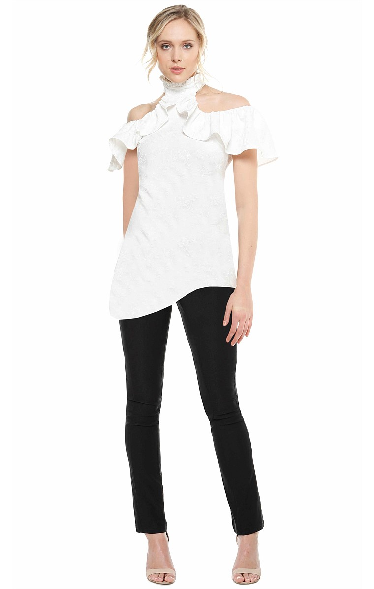 BACALL FRILL CUT OUT SHOULDER HIGH NECK TIE TOP IN IVORYJACQUARD CREPE