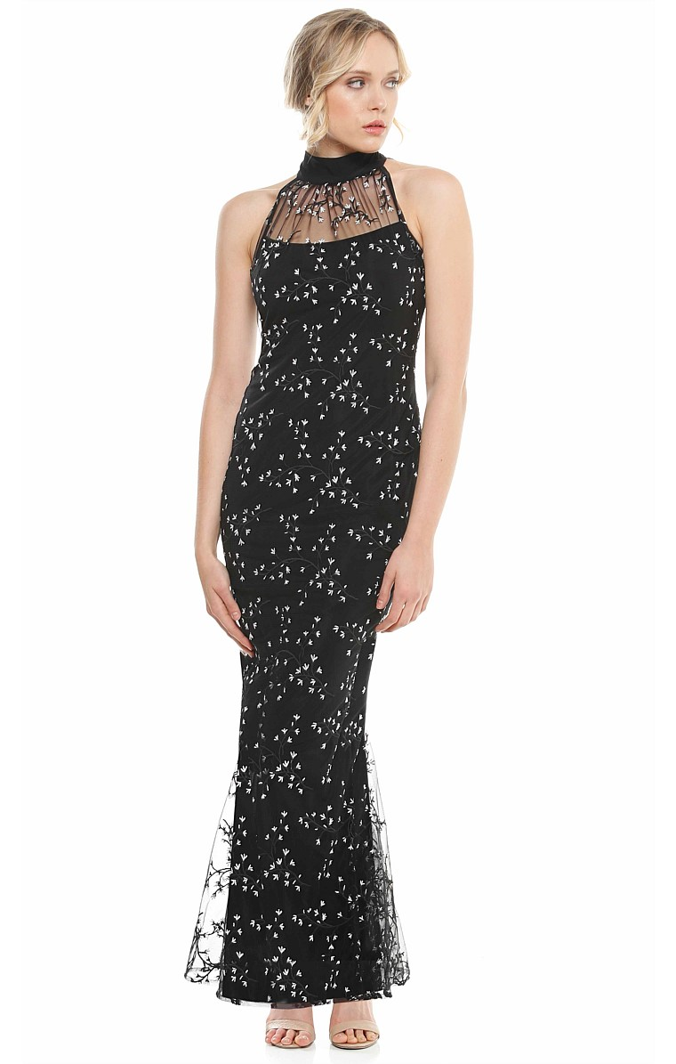 ASTAIRE HIGH NECK FISHTAIL EVENING GOWN AND CAPE SET IN BLACK WHITE FLORAL EMBROIDERED MESH