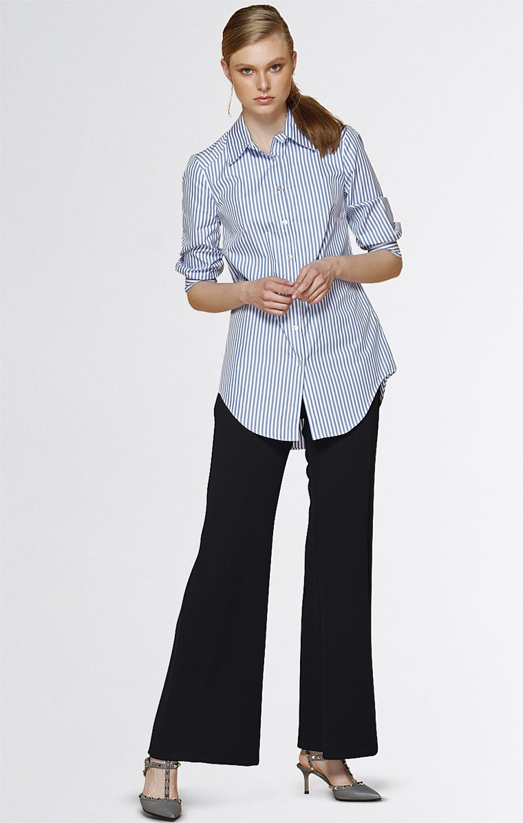 3/4 SLEEVE BUTTON DOWN COLLARED COTTON SHIRT IN SKY WHITE STRIPE
