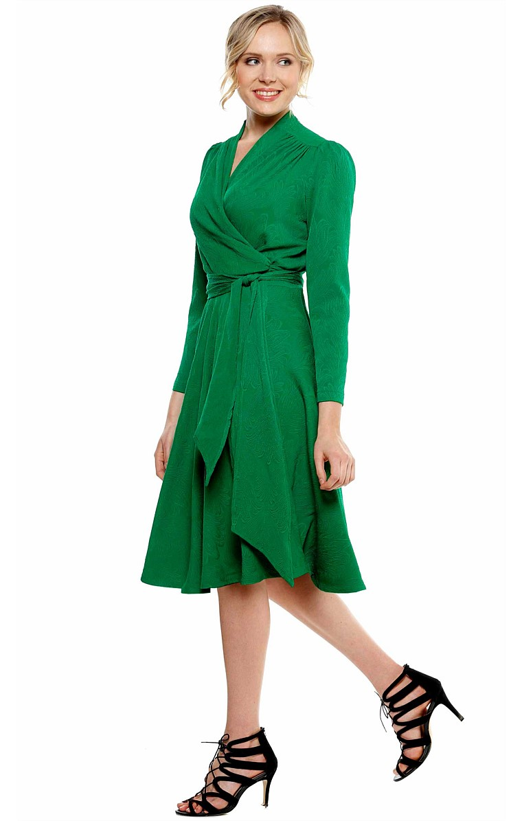 CLARA LONG SLEEVE FLARED A-LINE WRAP DRESS IN GREEN JACQUARD
