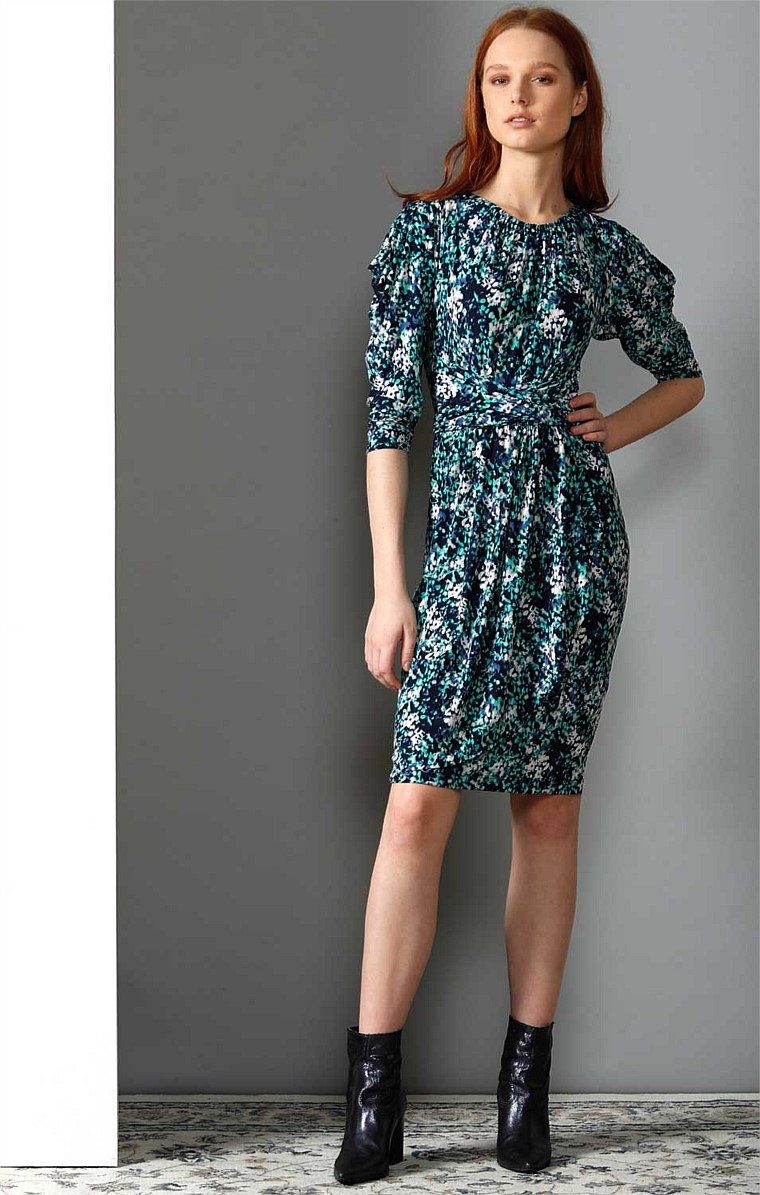 DYTHEA SPLIT SLEEVE STRETCH JERSEY KNEE LENGTH DRESS IN NAVY JADE PRINT