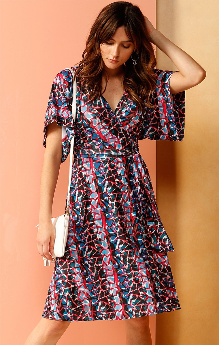 GREYSHOT ARCH STRETCH JERSEY KIMONO KNEE LENGTH DRESS IN MULTI FRAGMENT PRINT