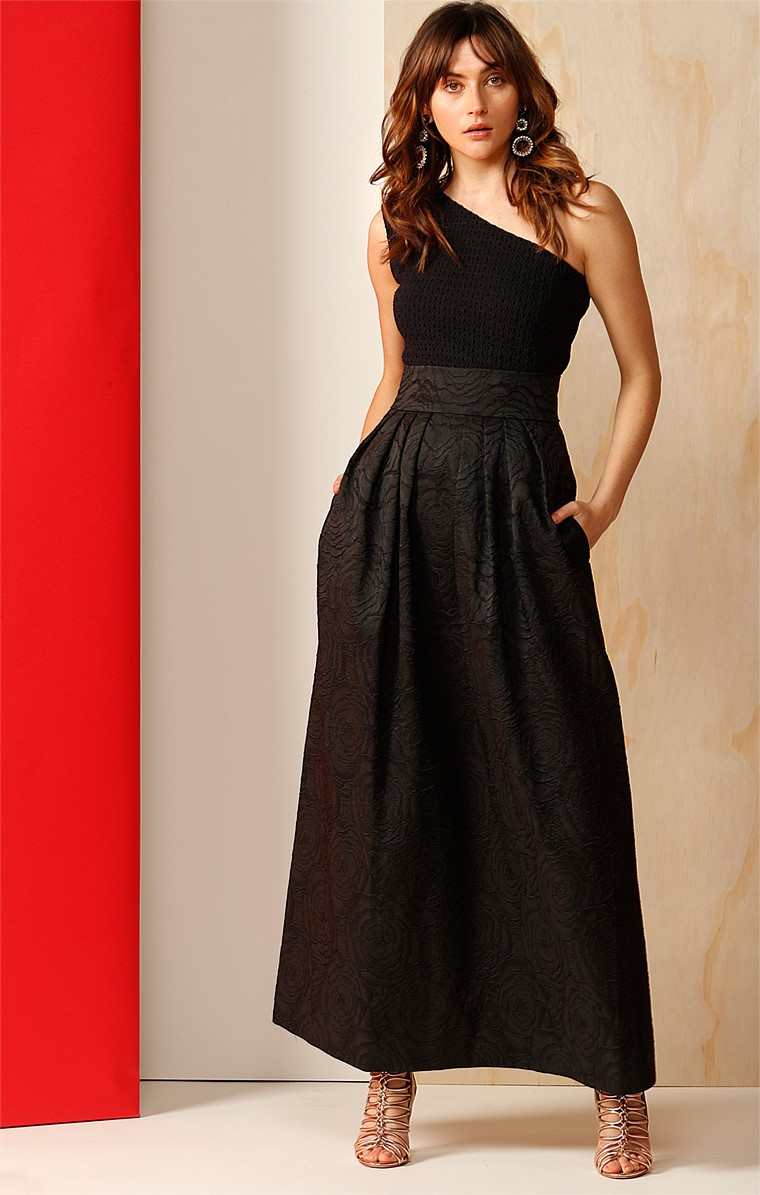 THE MET LONG MAXI A-LINE PLEATED TEXTURED EVENING BLACK TIE BALL SKIRT IN ROSE JACQUARD