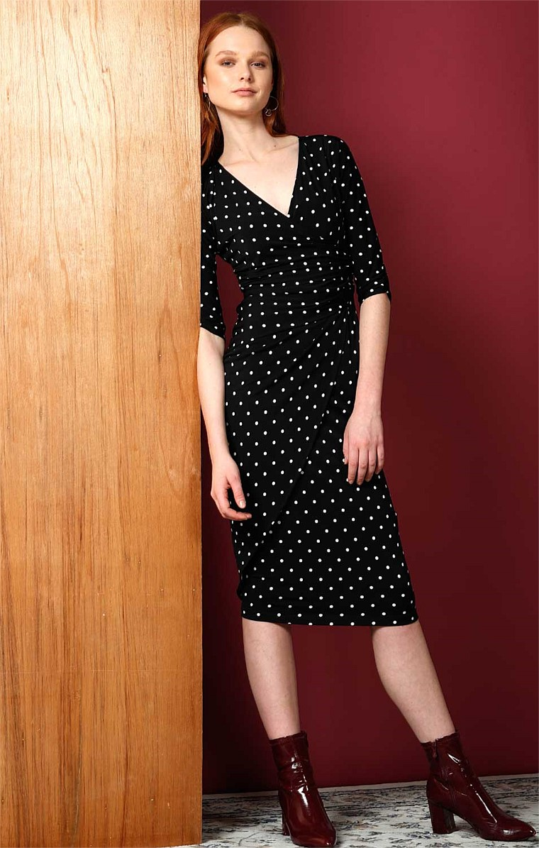MUSGRAVE FAUX WRAP STRETCH JERSEY 3/4 SLEEVE DRESS IN BLACK WHITE SMALL POLKADOT PRINT