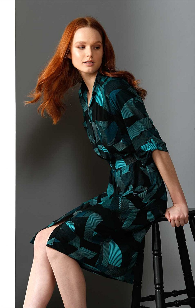 JUNE JERSEY LOOSE FIT STRETCH SHIRTMAKER DRESS IN GREEN BLACK SWIRL PRINT