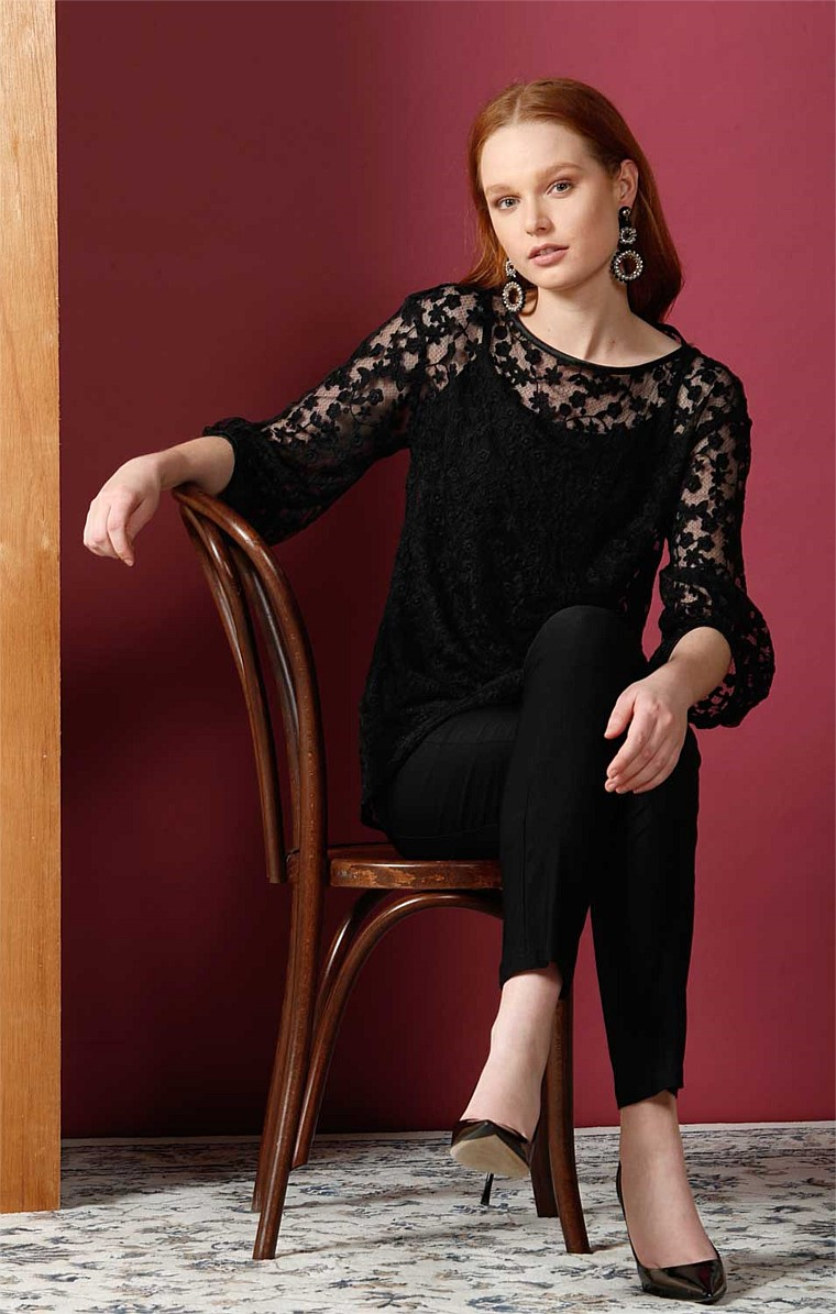 VINCENZO BISHOP SLEEVE TEXTURED LACE BLOUSE WITH SLIP IN BLACK FLORAL LACE