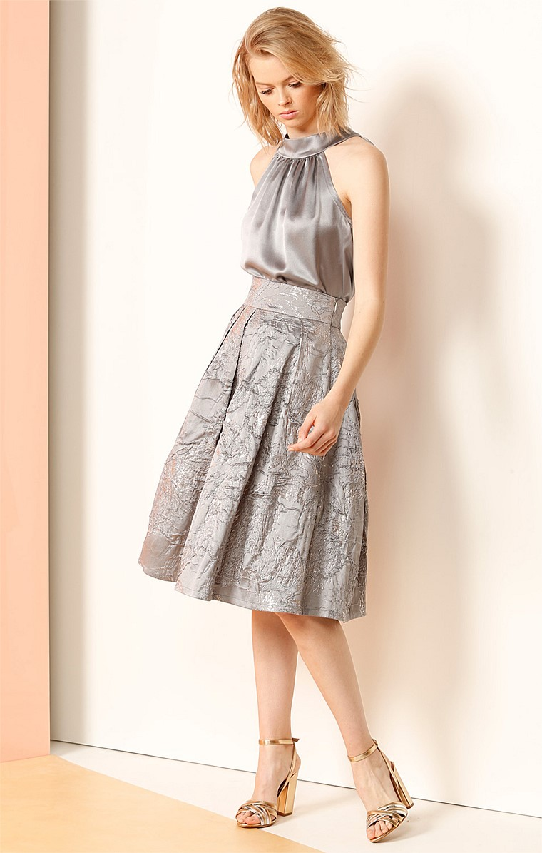 CENTRAL PARK LAKE KNEE LENGTH PLEATED A-LINE TEXTURED COCKTAIL SKIRT IN SILVER