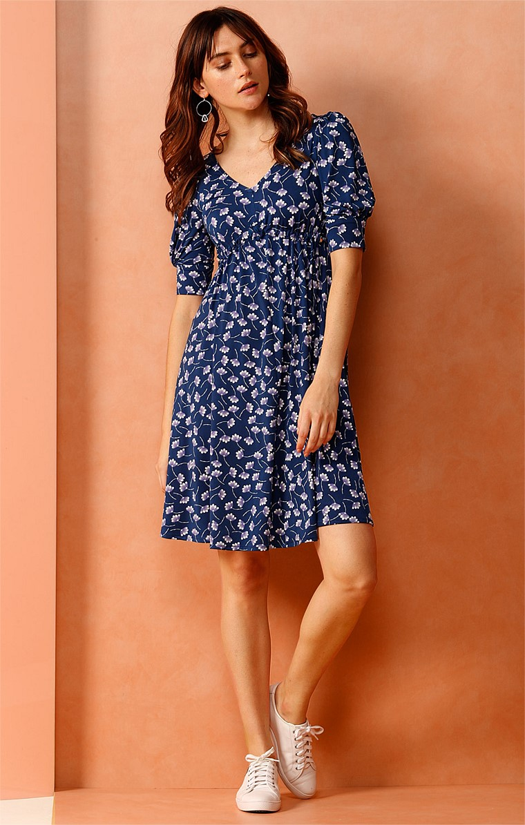 YOSHINO CHERRY ADJUSTABLE STRETCH 3/4 SLEEVE DRESS IN BLUE FLOWER PRINT