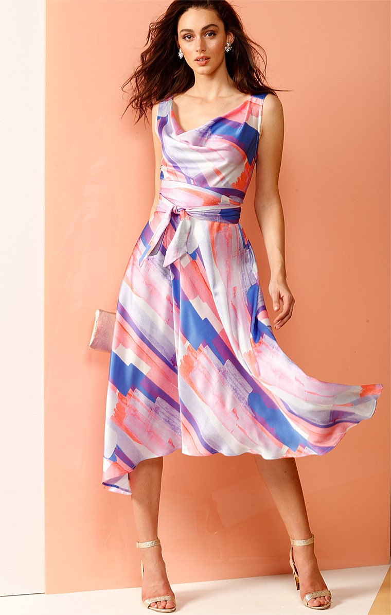 CARRIAGE RIDE SILK COWL NECK CROSS BACK FAUX WRAP MIDI DRESS IN PINK BLUE