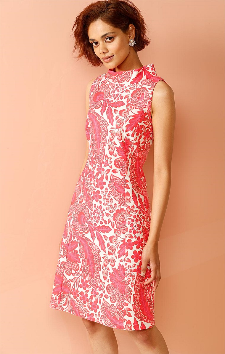 LADIES PAVILLION HIGH NECK SLEEVELESS KNEE LENGTH DRESS IN PINK WHITE PAISLEY PRINT