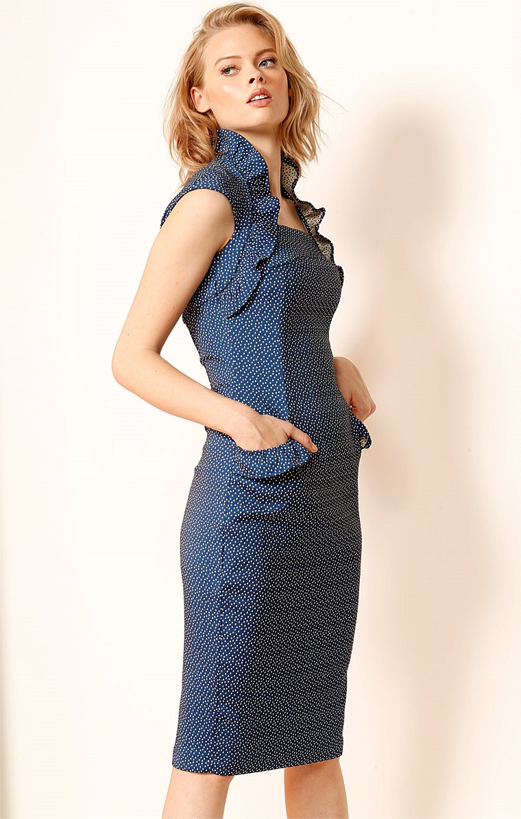 KEMEYS FRILL SLEEVE STRETCH COTTON FITTED DRESS IN BLUE WHITE SPOT PRINT