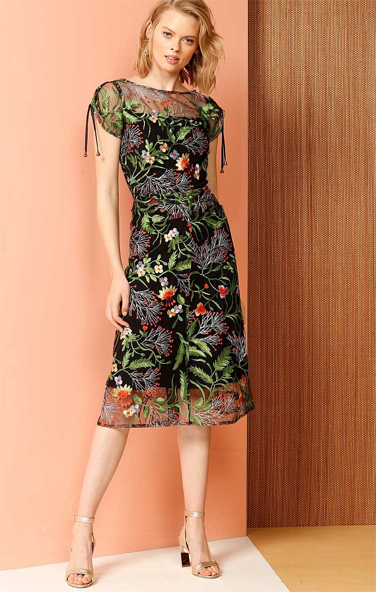 WISTERIA PERGOLA EMBROIDERED MESH ADJUSTABLE SLEEVE COCKTAIL PARTY DRESS IN FLORAL PRINT