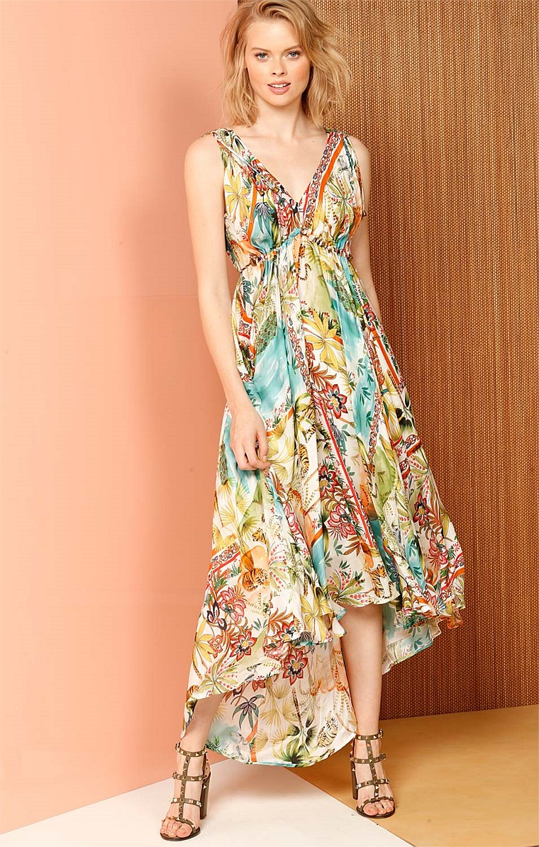 GOLD CUPID SILK ADJUSTABLE HI-LO HEM A-LINE V-NECK SLEEVELESS DRESS IN BOTANICAL PRINT