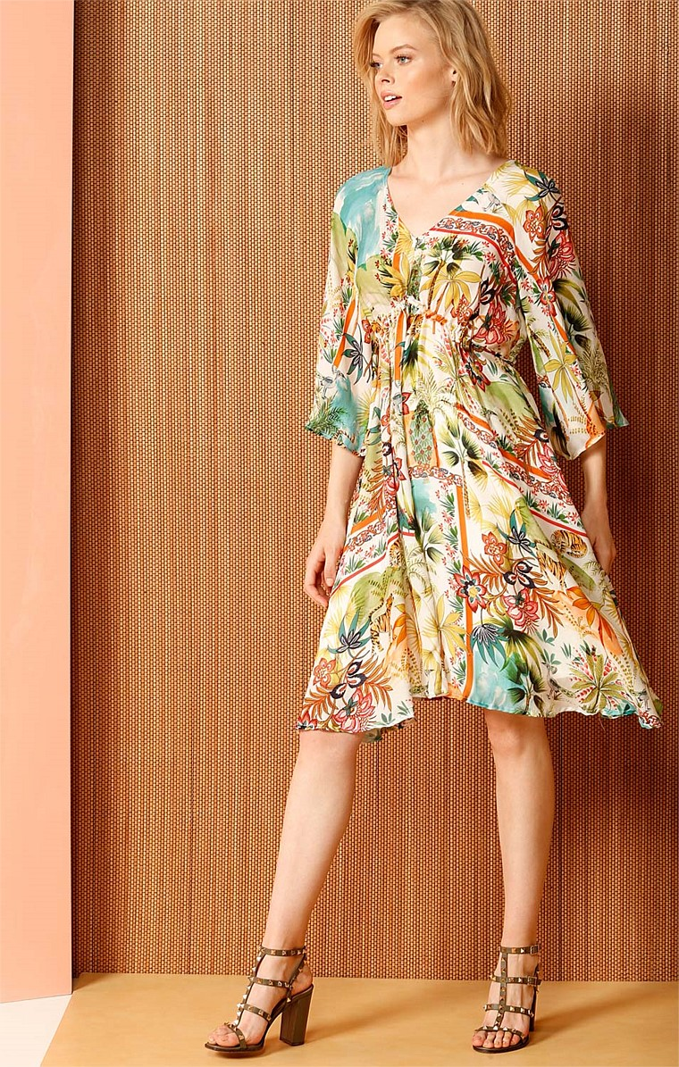 MOSAIC FOUNTAIN KIMONO SLEEVE ADJUSTABLE KAFTAN A-LINE DRESS IN BOTANICAL PRINT
