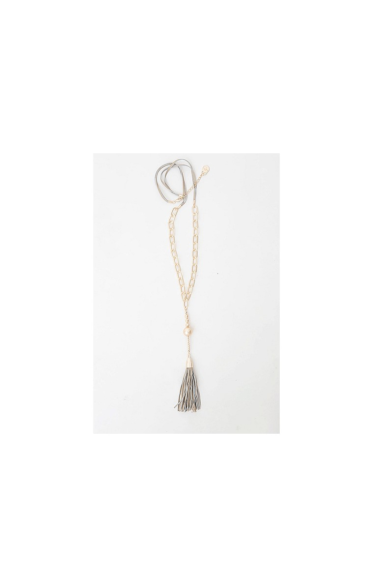LONG DROP GOLD GREY AND NUDE SUEDE TASSEL NECKLACE