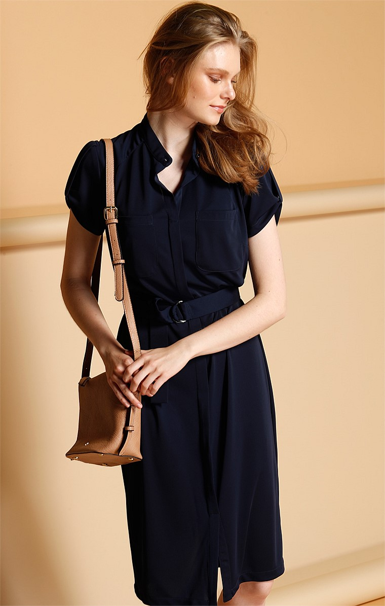 CAP SLEEVE LOOSE FIT STRETCH JERSEY SHIRTMAKER DRESS WITH POCKETS IN NAVY