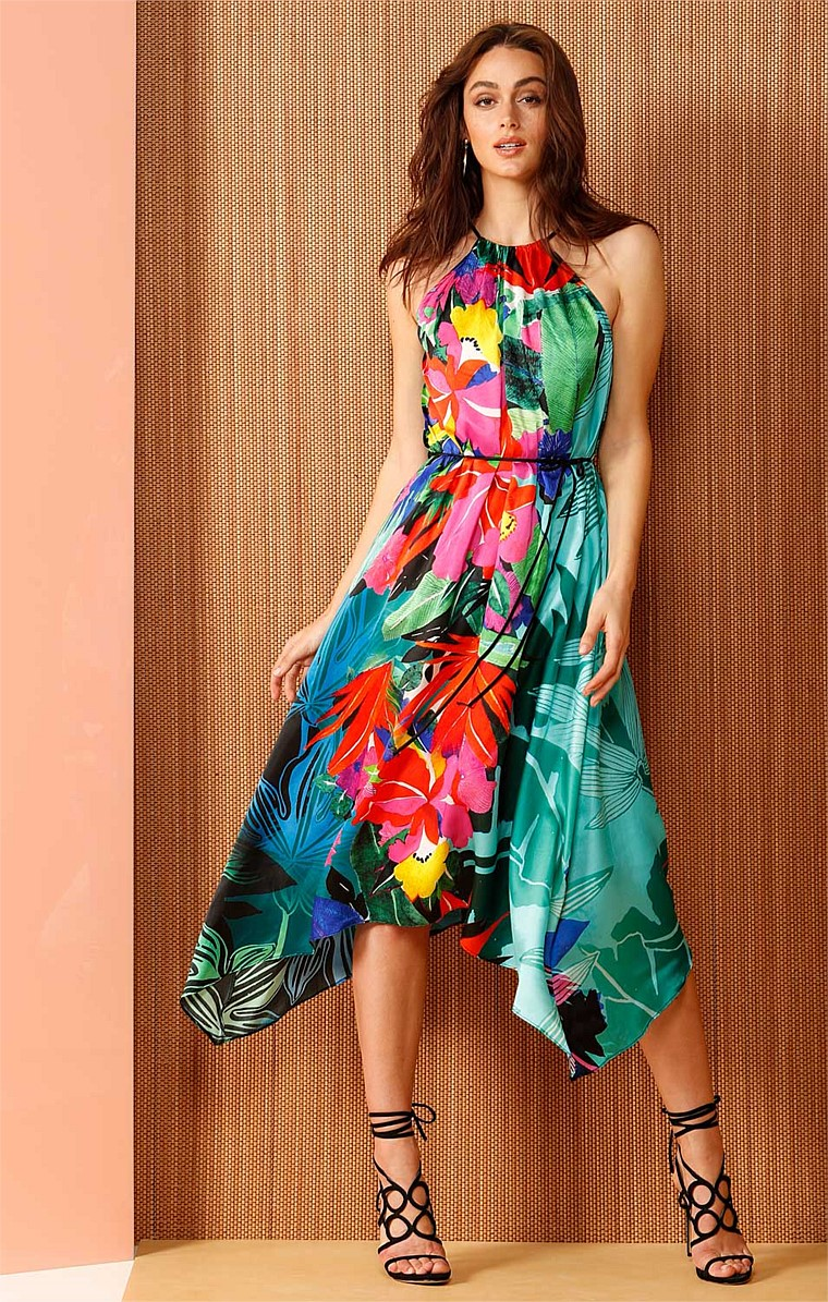 PAPUA SILK SLEEVELESS LOOSE FIT A-LINE DRESS IN VIBRANT FLORAL PRINT