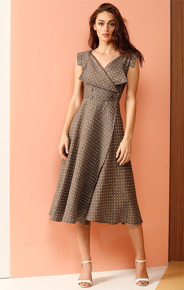COSTA RICA DOUBLE BREASTED WRAP A-LINE LINEN DRESS IN TOBACCO SPOT PRINT
