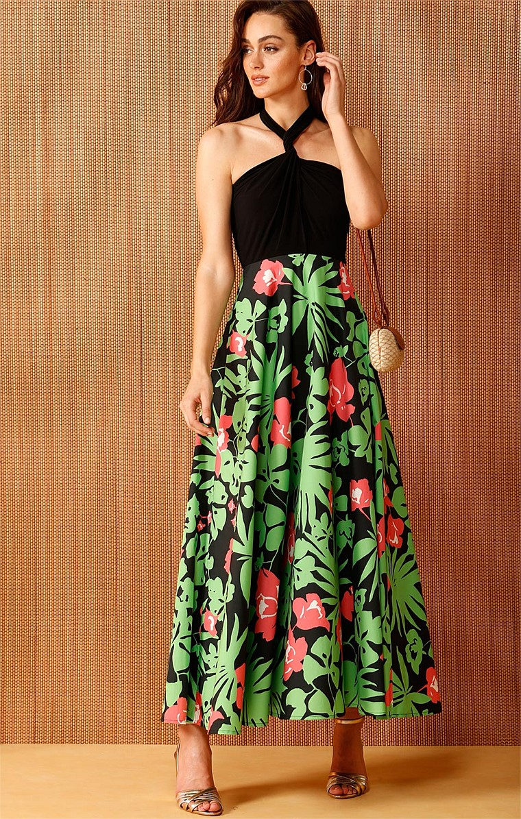 VARELA CONVERTIBLE JERSEY TOP PRINTED A-LINE MAXI DRESS IN BLACK GREEN PINK