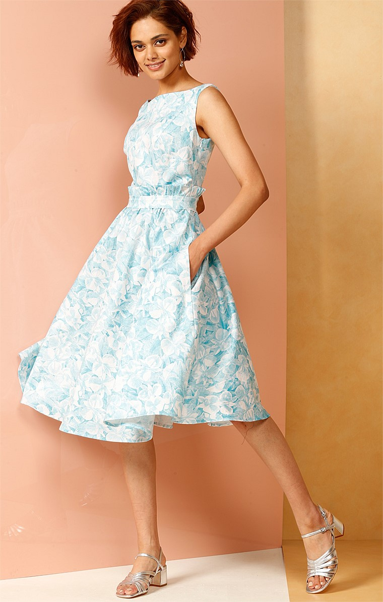 GREYSTOKE COTTON FIT AND FLARE SLEEVELESS A-LINE DRESS IN BLUE AQUA ORCHID PRINT