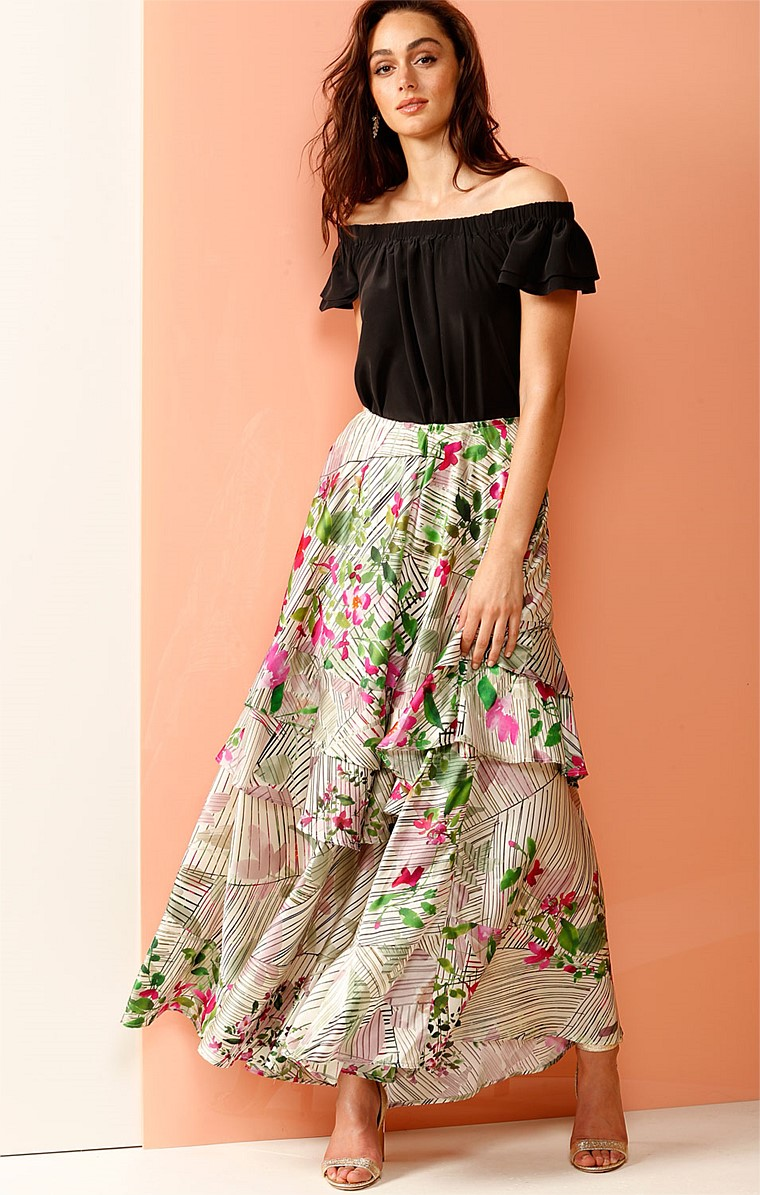 ELOUISE SILK RUFFLE LONG MAXI FORMAL SKIRT IN PINK CHAMPAGNE FLORAL PRINT