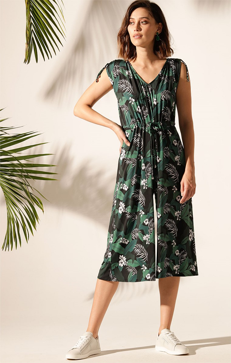 COURTNEY WIDE LEG STRETCH ADJUSTABLE JUMPSUIT IN GREEN BOTANICAL PRINT