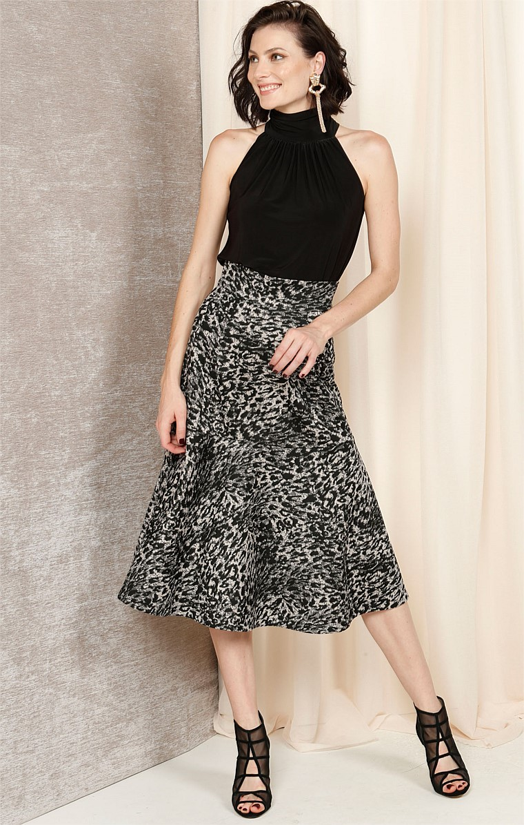 ELLA FIT AND FLARE MIDI A-LINE SKIRT IN BLACK TAUPE LEOPARD PRINT