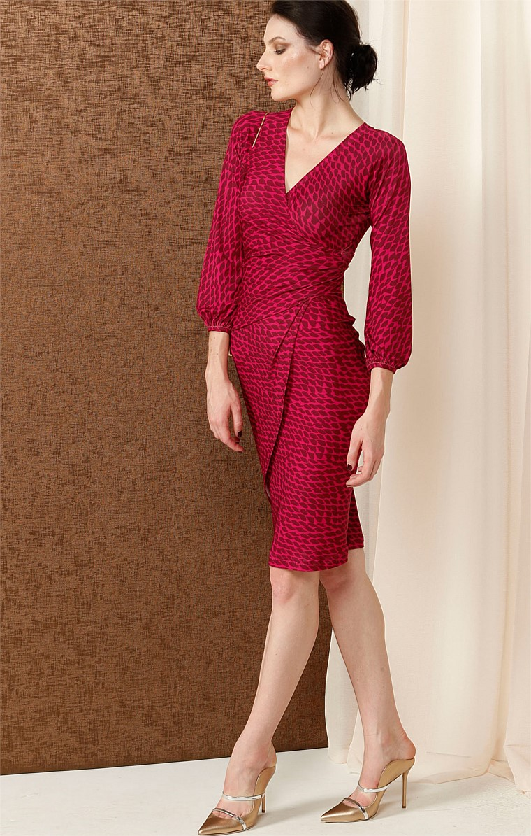 VANESSA FAUX WRAP STRETCH JERSEY PRINTED DRESS IN RUBY LEAF PRINT