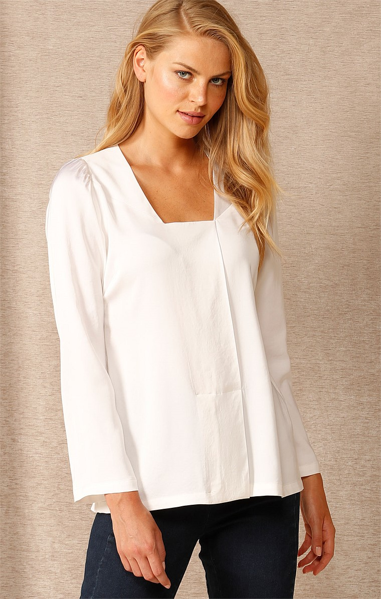 FLUID SQUARE-NECK LONG SLEEVE LOOSE-FIT TUNIC IN IVORY