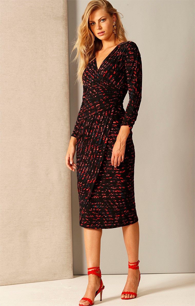 COURAGE UNDER FIRE FAUX WRAP V-NECK LONG SLEEVE MIDI DRESS IN BLACK FLAME STRIPE PRINT