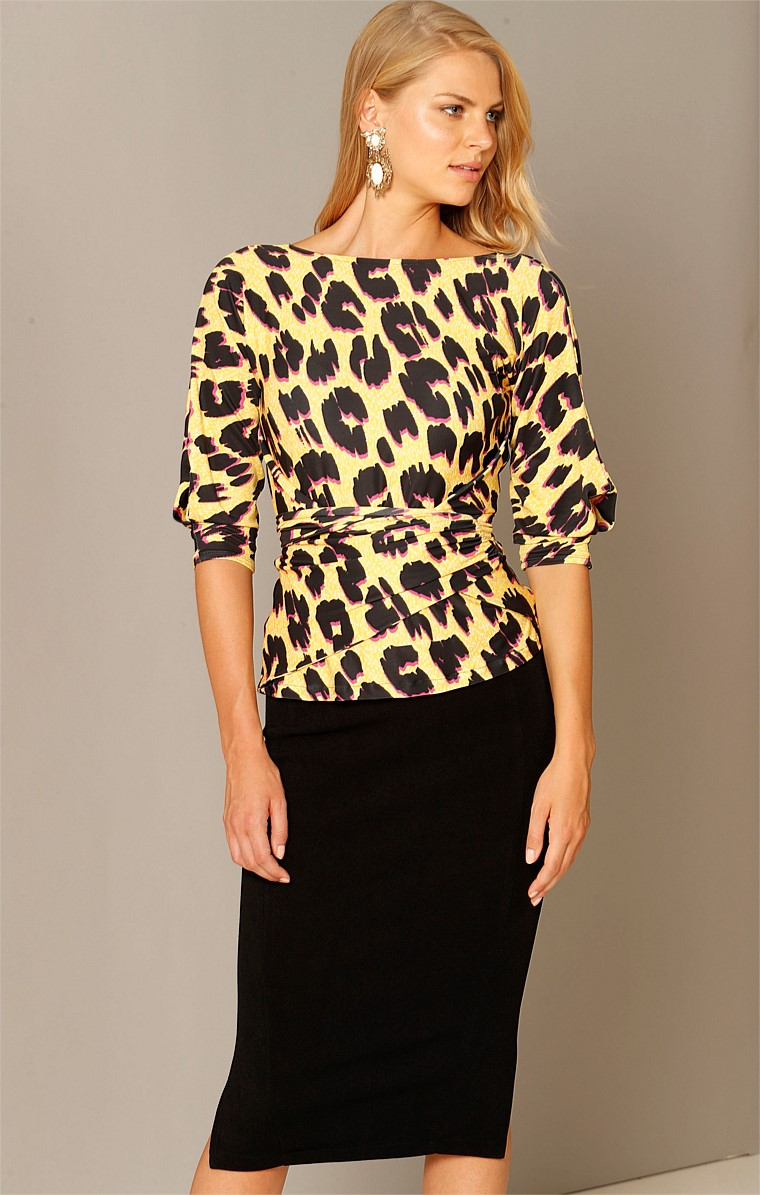 THE ONLY WAY IS UP JERSEY REVERSIBLE 3/4 SLEEVE COWL NECK TIE TOP IN YELLOW LEOPARD PRINT