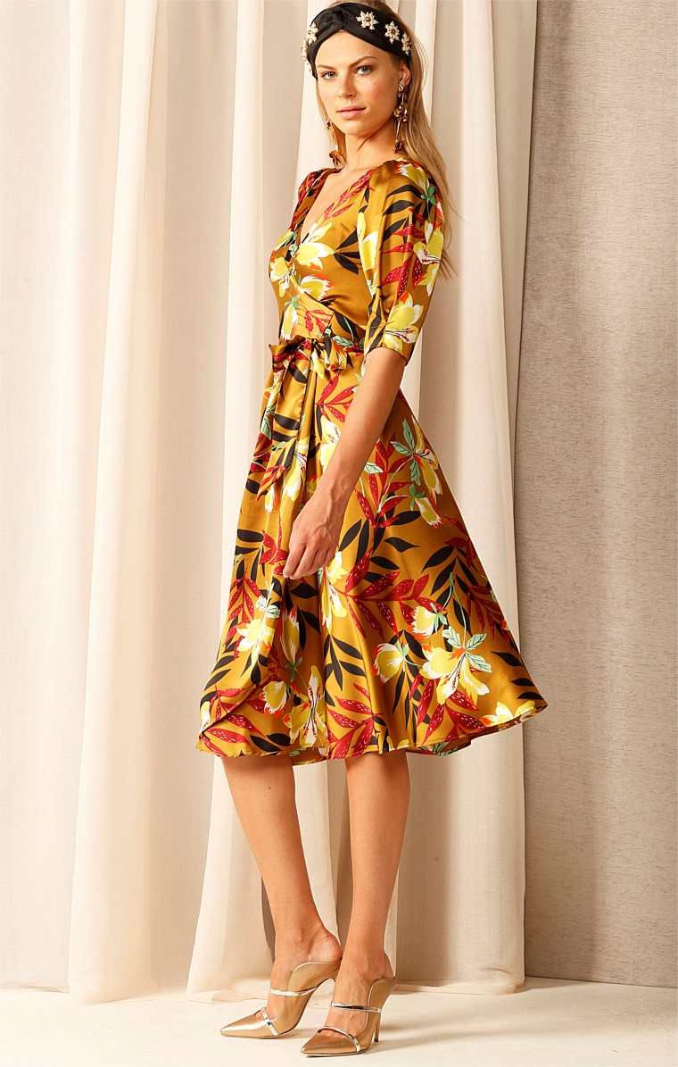 SUNSHINE AFTER RAIN V-NECK A-LINE MIDI WRAP DRESS IN CHARTREUSE FLORAL PRINT