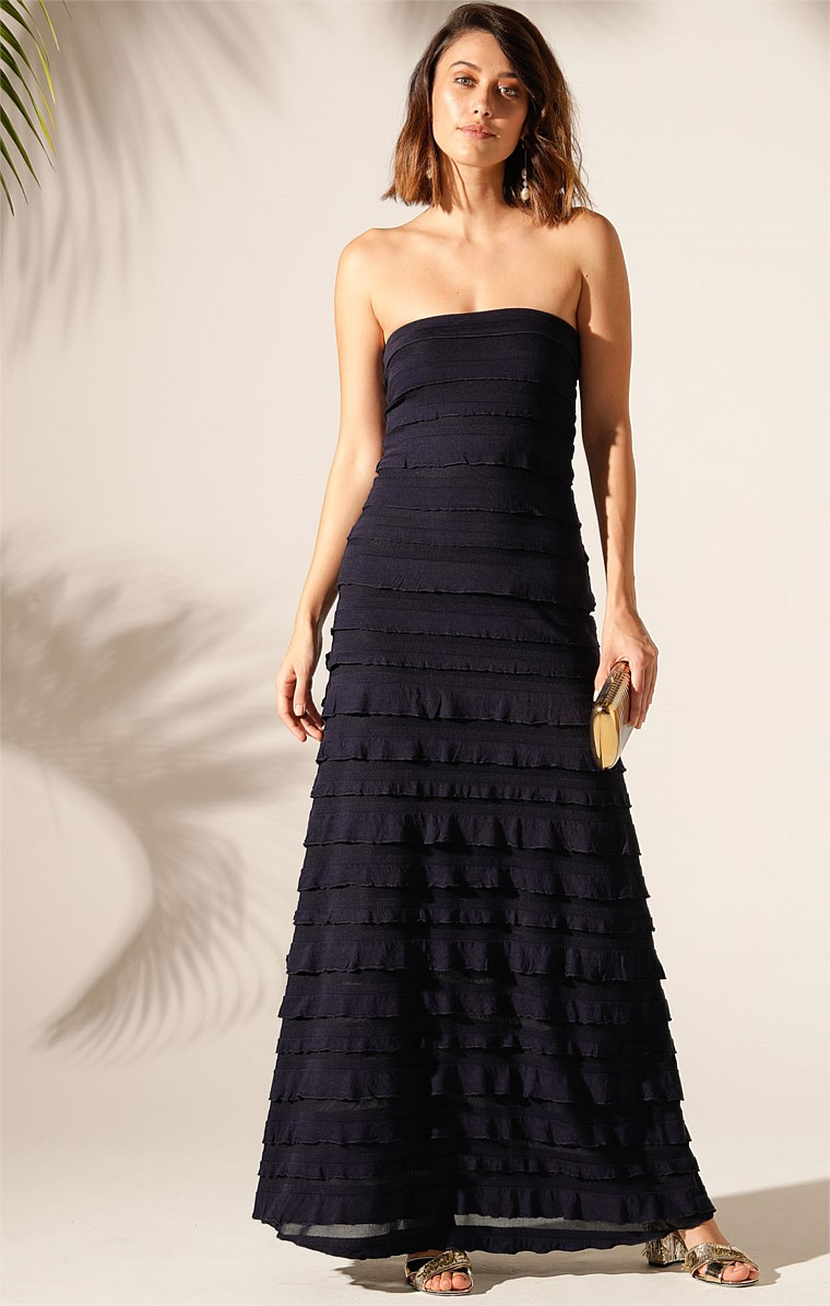 MADDISON STRAPLESS LONG RUFFLE STRETCH MAXI DRESS IN NAVY