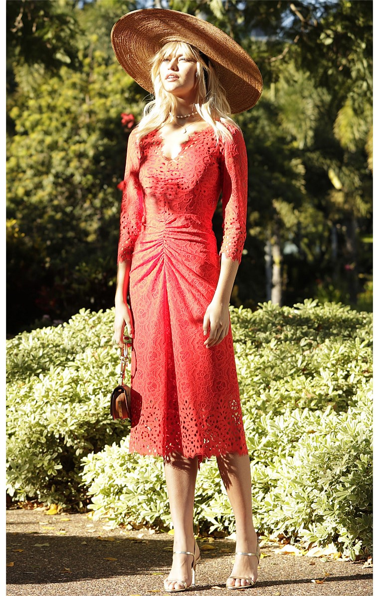 RAMIERS V-NECK 3/4 SLEEVE GATHERED EVENING DRESS IN RED LACE WITH RED SLIP