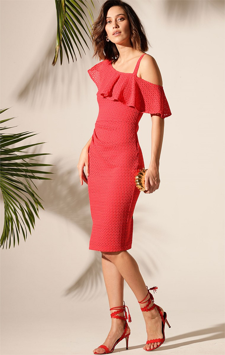 SAINT VINCENT STRETCH LACE ONE SHOULDER FRILL FITTED KNEE-LENGTH DRESS IN RED LACE