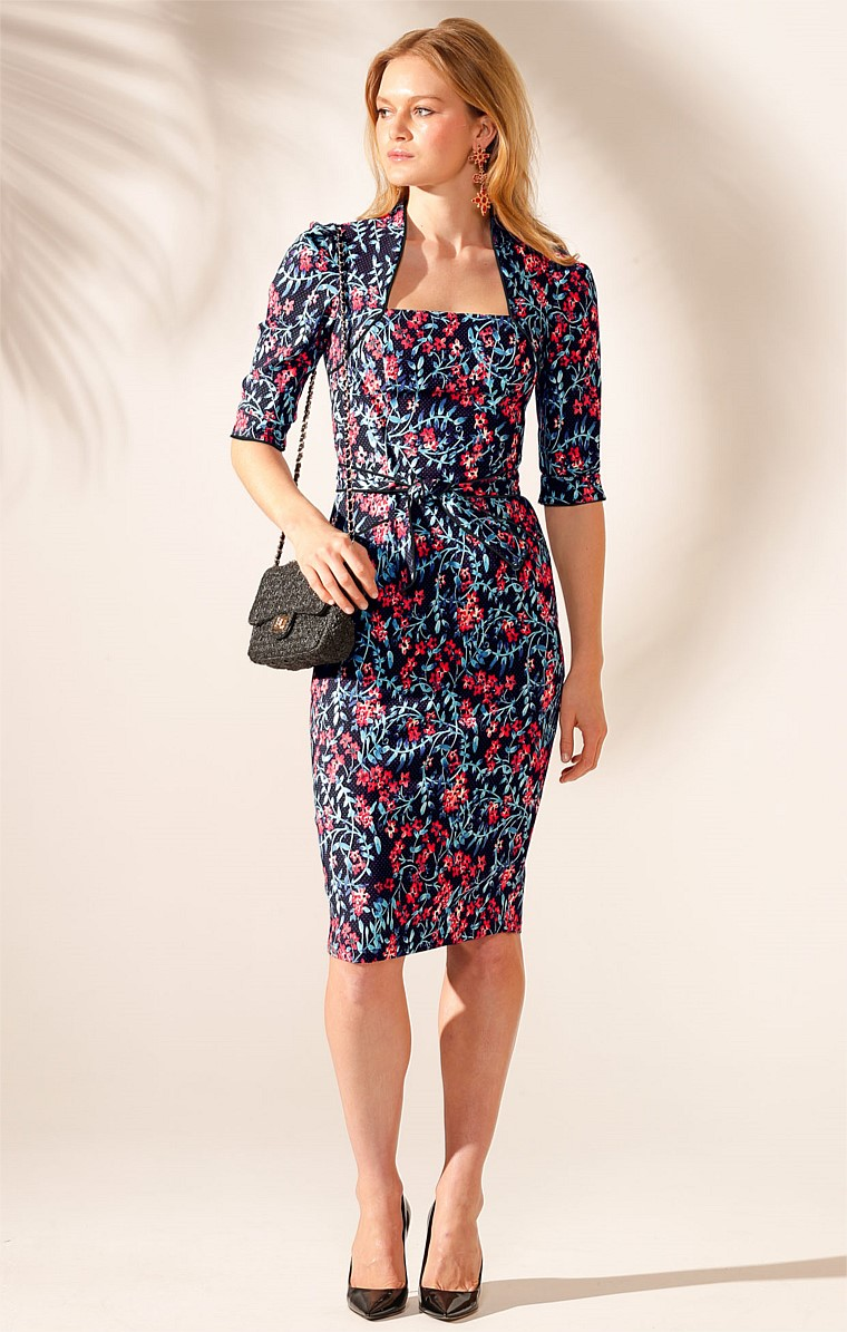LA TOUCHE SQUARE-NECK 3/4 SLEEVE KNEE-LENGTH DRESS IN ORANGE TEAL FLOWER PRINT