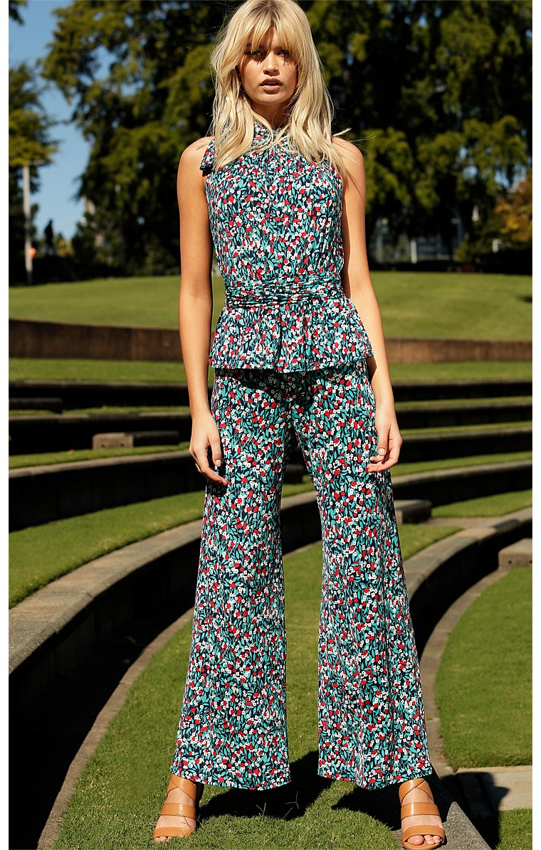 SEAMLESS STRETCH JERSEY WIDE LEG PANT IN TURQUOISE MINI FLORAL PRINT