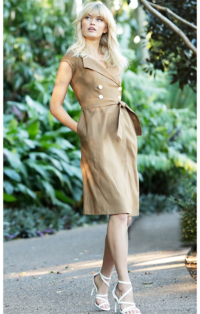 GRENADA STRETCH LINEN DOUBLE BREASTED A-LINE CAP SLEEVE KNEE-LENGTH DRESS IN TOBACCO