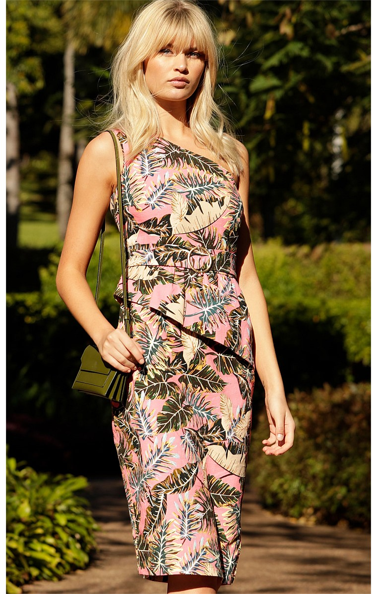 OCHO RIOS FITTED ONE SHOULDER PEPLUM OVERLAY KNEE-LENGTH TEXTURED COTTON DRESS IN PINK LEAF PRINT