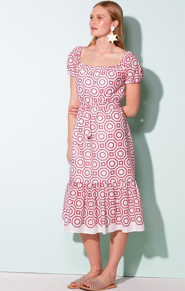 BARBADOS ADJUSTABLE PUFF CAP SLEEVE A-LINE MIDI LENGTH COTTON DRESS IN RED WHITE GEO PRINT
