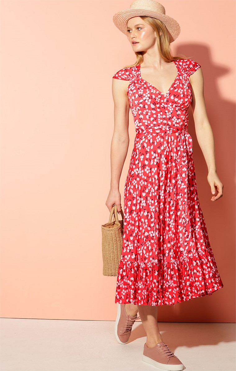 VALENTIN STRETCH JERSEY CAP SLEEVE A-LINE MIDI DRESS IN RED MINI FLORAL PRINT