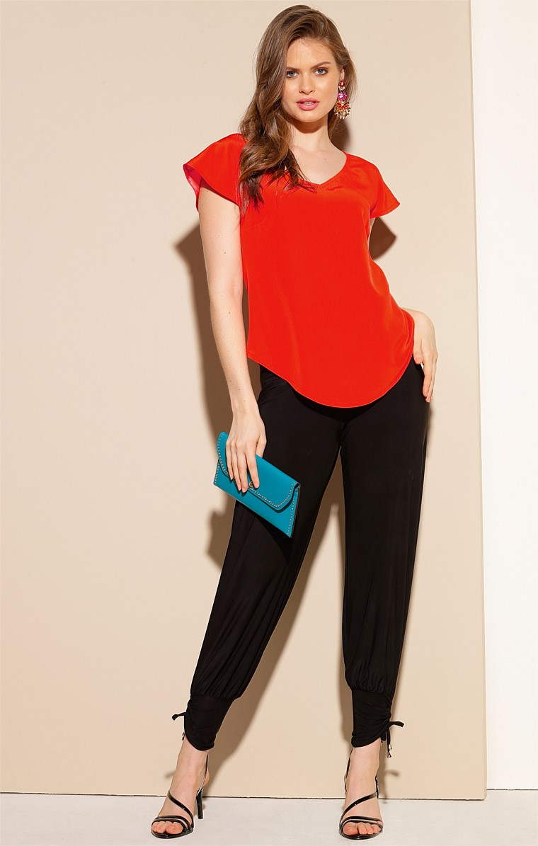 ANALIA LOOSE-FIT V-NECK CAP SLEEVE BLOUSE TOP IN TANGERINE