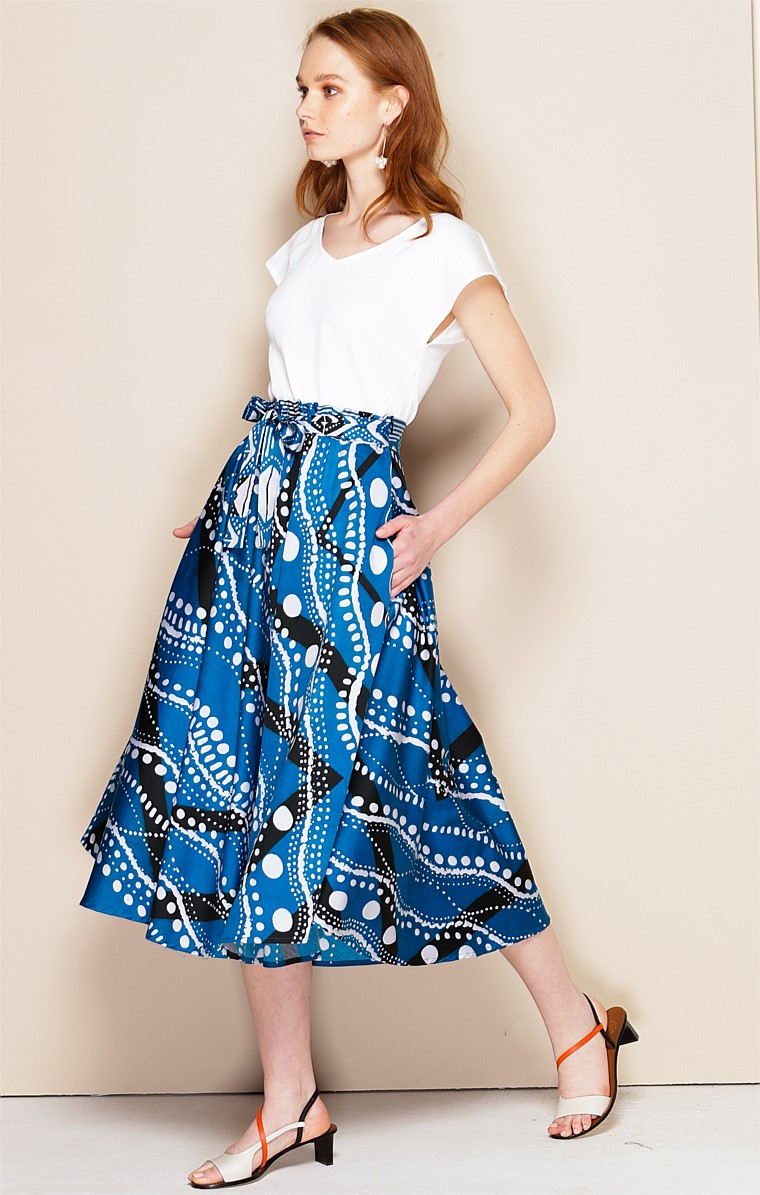MEDITERRANEAN COTTON A-LINE MIDI SKIRT IN BLUE WHITE ZIG ZAG ITALIAN PRINT