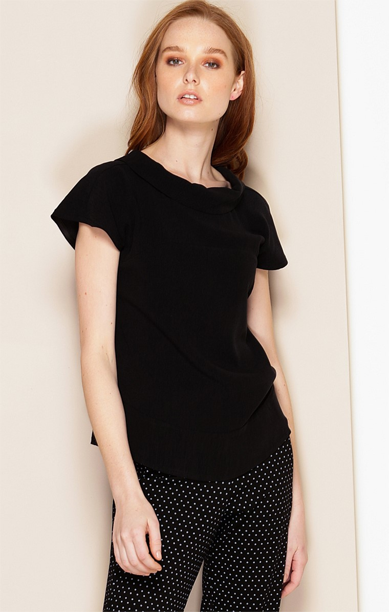 KATE CAP SLEEVE HIGH-NECK COLLAR TOP IN BLACK