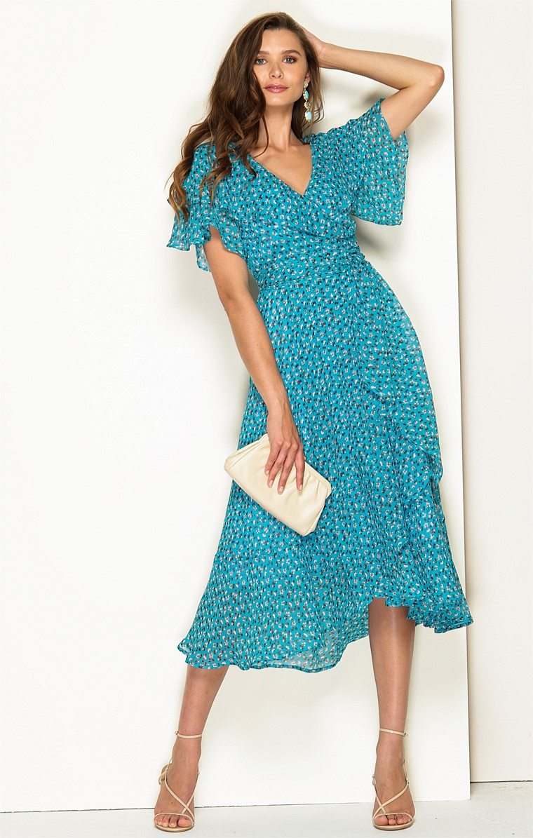 ST TROPEZ SILK WRAP CAP SLEEVE V-NECK A-LINE MIDI DRESS IN TURQUOISE MINI FLORAL PRINT