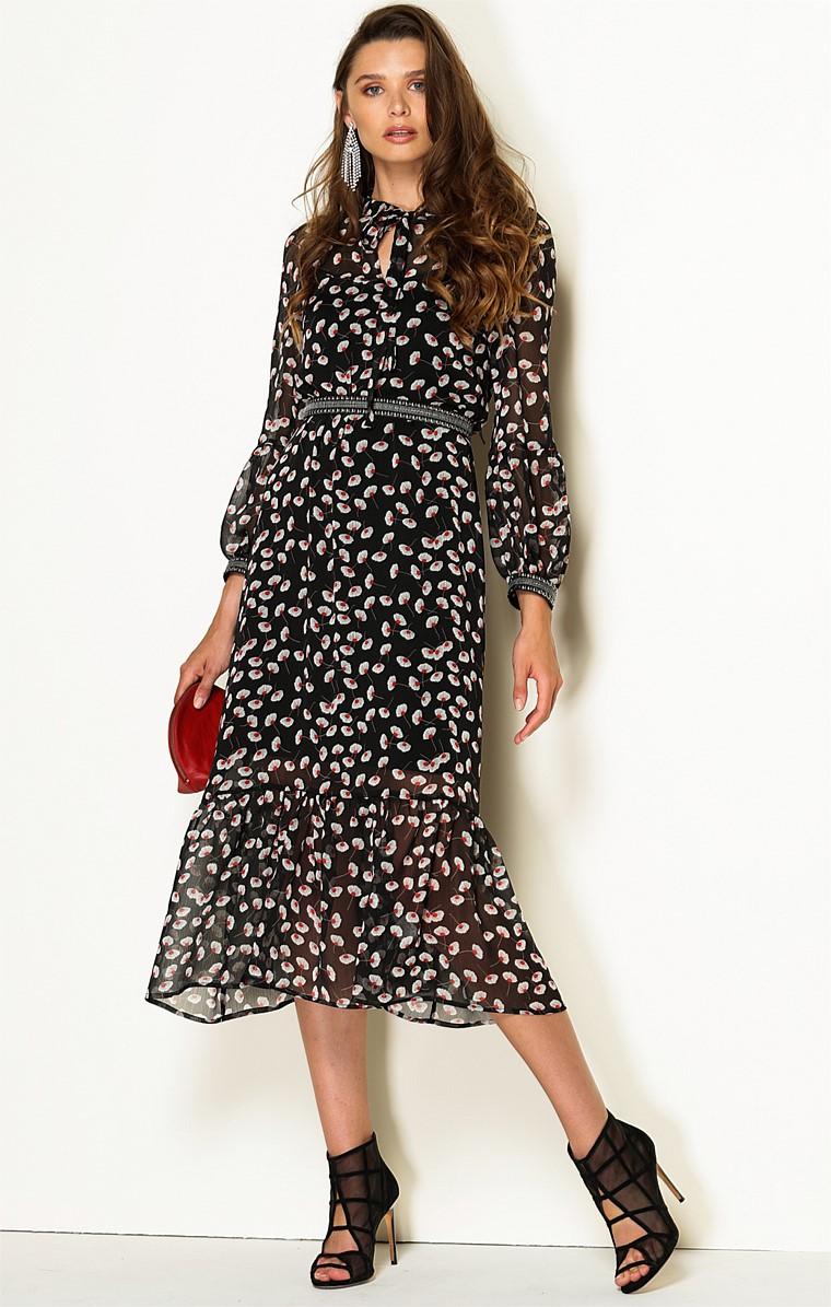 MESSINA 3/4 SLEEVE LOOSE FIT HIGH NECK TIE A-LINE MIDI DRESS IN BLACK WHITE POPPY