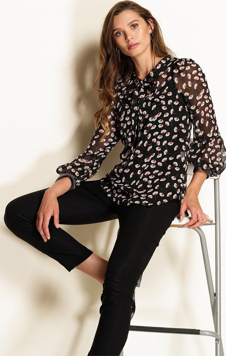 MESSINA LOOSE FIT HIGH NECK TIE TOP IN BLACK WHITE POPPY