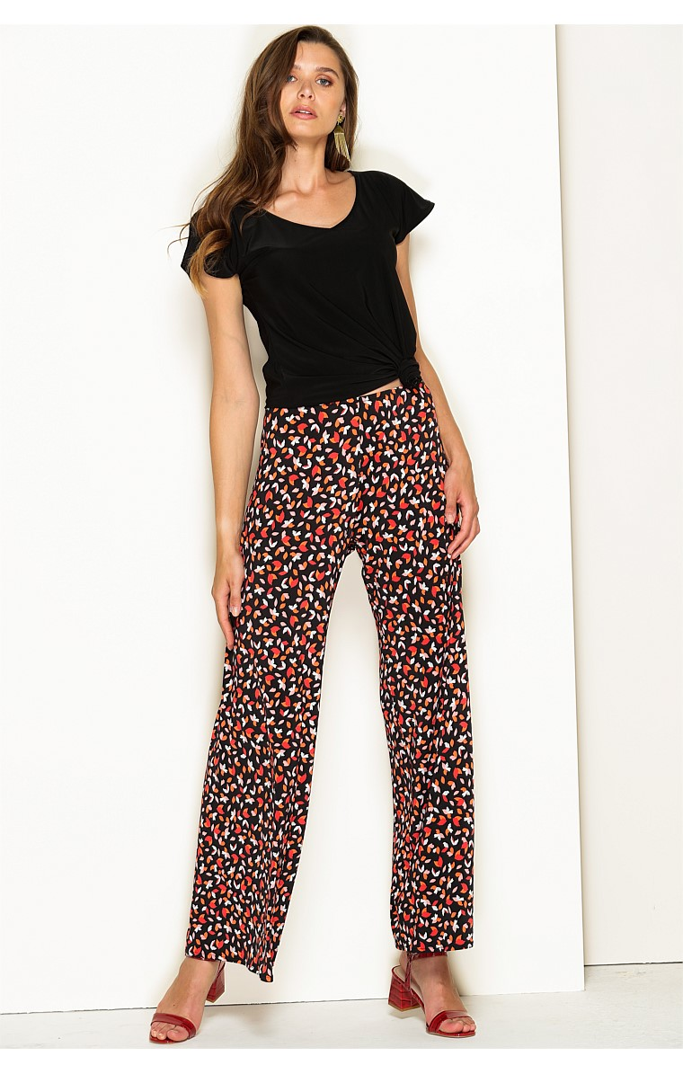 SEAMLESS STRETCH JERSEY WIDE LEG PANT IN TANGERINE MULTI LEAF PRINT